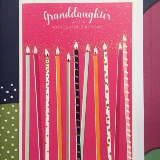 Granddaughter Birthday Card - Tall Candles