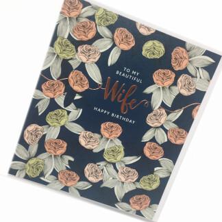 Wife Birthday Card - Flowers