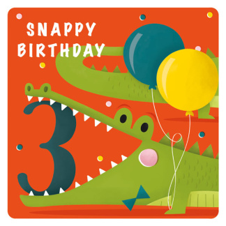 3rd Birthday Card - Crocodile