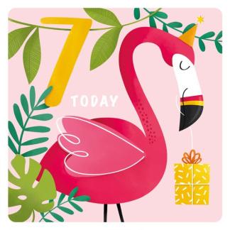 7th Birthday Card - Flamingo