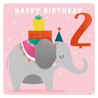 2nd Birthday Card - Elephant