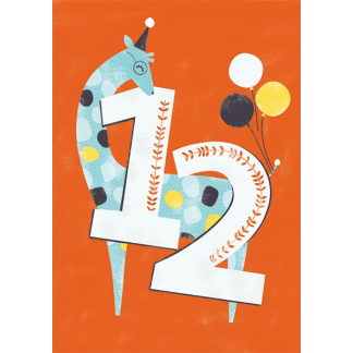 12th Birthday Card - Giraffe