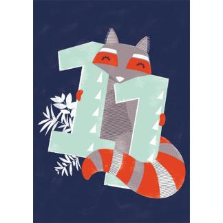 11th Birthday Card - Fox