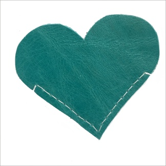 Verdigris Heart Leather Bookmark