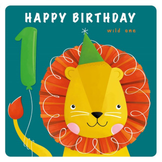 1st Birthday Card - Lion
