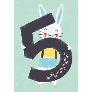 5th Birthday Card - Rabbit