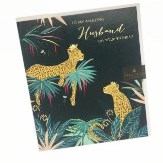 Husband Birthday Card - Leopards