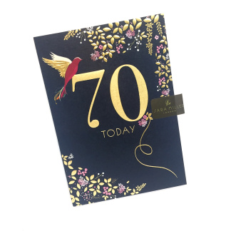 70th Birthday Card - Gold Wings