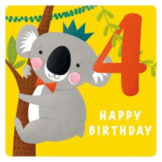 4th Birthday Card - Koala
