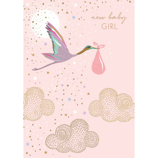 New Baby Card - Stork Pink
