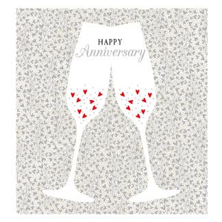 Anniversary Card - Heart Champagne