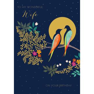 Wife Birthday Card - Birds