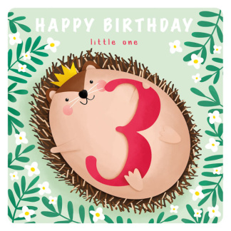 3rd Birthday Card - Hedgehog