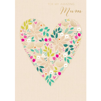 Mother's Day Card - Floral Heart