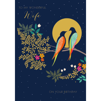 Wife Birthday Card - Birds