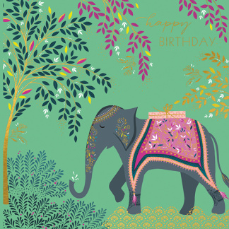 Birthday Card - Decorated Elephant