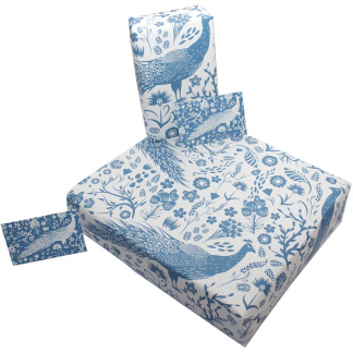 Wrapping Paper - Blue Peacocks