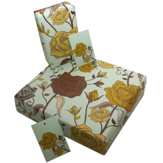 Wrapping Paper - Brown Roses