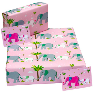 Wrapping Paper - Pink Elephants