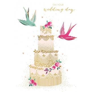 Wedding Card - Cake and Birds