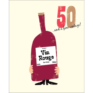 50th Birthday Card - Vin Rouge