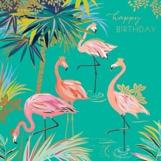 Birthday Card - Flamingos