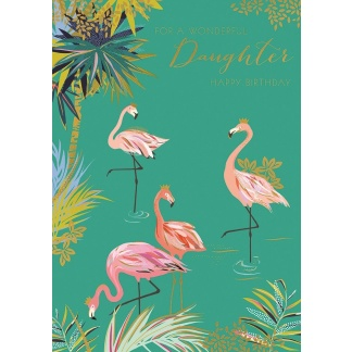 Daughter Birthday Card - Flamingos